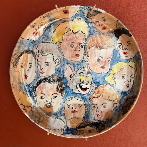 "Paintings by Lorenzo Y Taquito seen at Creator's Studio, San Miguel de Allende - ""One of us"" majolica plate"
