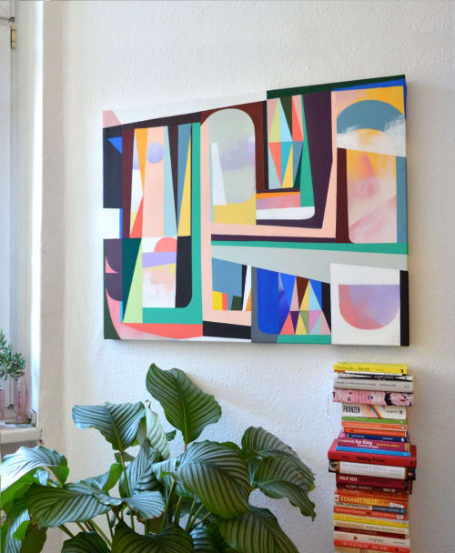 "Paintings by Jilli Darling seen at Private Residence, Berlin - ""Patchwork 03"" original painting 80x100x4 cm"