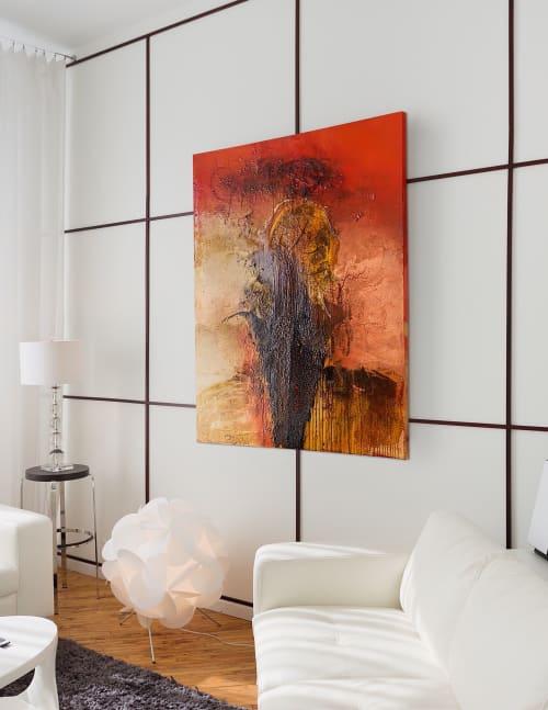 Paintings by Mary Barr Rhodes seen at Studio V Cincy, Cincinnati - Phoenix Rising
