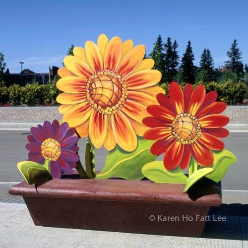 Public Sculptures by Karen Ho Fatt seen at Saint Thomas Street, St. Albert - Blooms