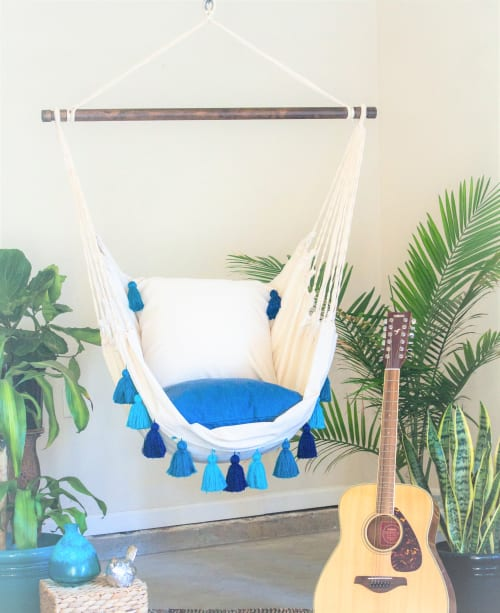 Furniture by Limbo Imports Hammocks seen at Creator's Studio, Atlanta - Turquoise Boho Style Hammock Swing Chair + 2 Pillows