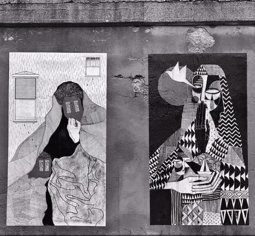 Street Murals by Expanded Eye seen at Pilsen, Chicago - Paper Portraits II