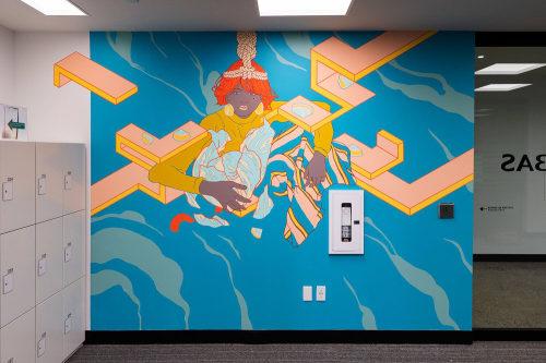 Murals by DORAS seen at BNP Paribas, Montréal - Flow 2