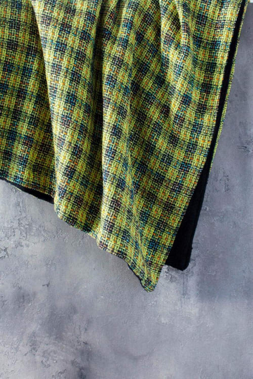 Linens & Bedding by Local Produce Design seen at Private Residence, Athens - Yellow and Black Plaid Wool Blanket