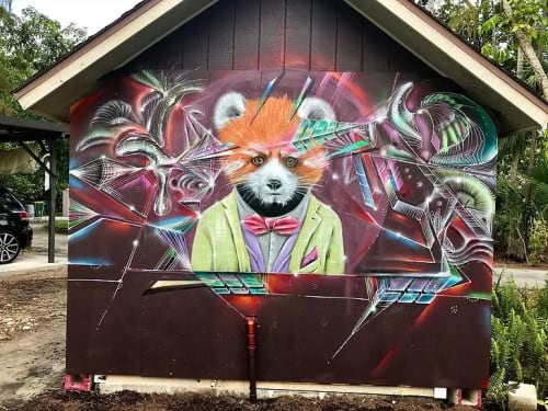 Murals by Max Ehrman (Eon75) seen at Private Residence, Naples - Red Panda