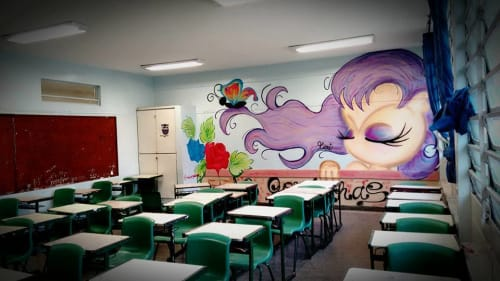 Murals by Mari Oliveira Visual Artist seen at EMEF ANTONIA E ARTUR BEGBIE, Jardim Campos - Wall Mural