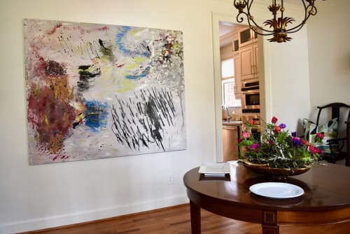 "Paintings by Michael Patterson ""push paint studios"" Charlotte NC USA seen at Private Residence, Charlotte - Beijing Rain. 48"" x 60""    modern abstract large canvas."