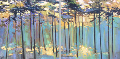"""Water Moves Beneath Us #56, 48x96"""" diptych. 