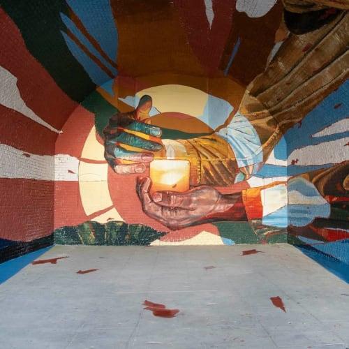 "Murals by Oscar Maslard - SCKARO seen at Les Jardins Suspendus, Le Havre - ""light at the end"""