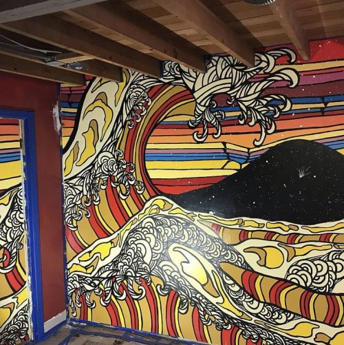 Murals by dOTS seen at Private Residence, San Francisco - The Great Wave