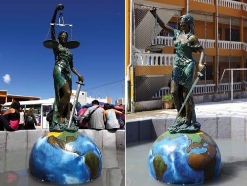 Public Sculptures by Gonz Jove seen at Higher University of San Andrés (UMSA), La Paz - Diosa Temis
