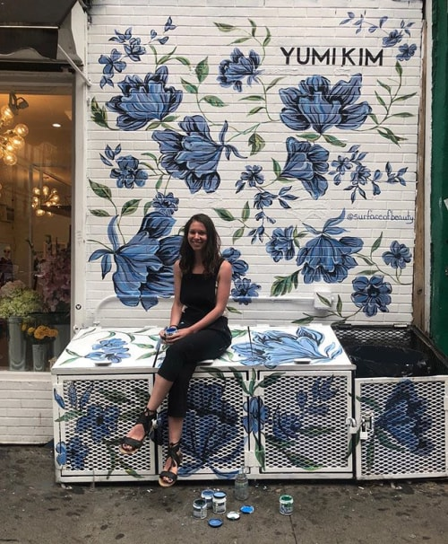 Murals by Surface of Beauty seen at Yumi Kim, New York - Body art matching to mural