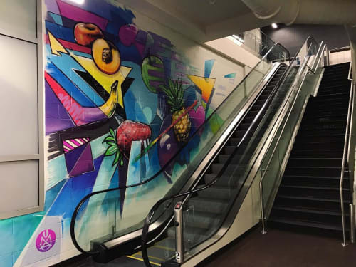 Murals by Michael McPheeters seen at Tom Thumb, Dallas - Interior Mural