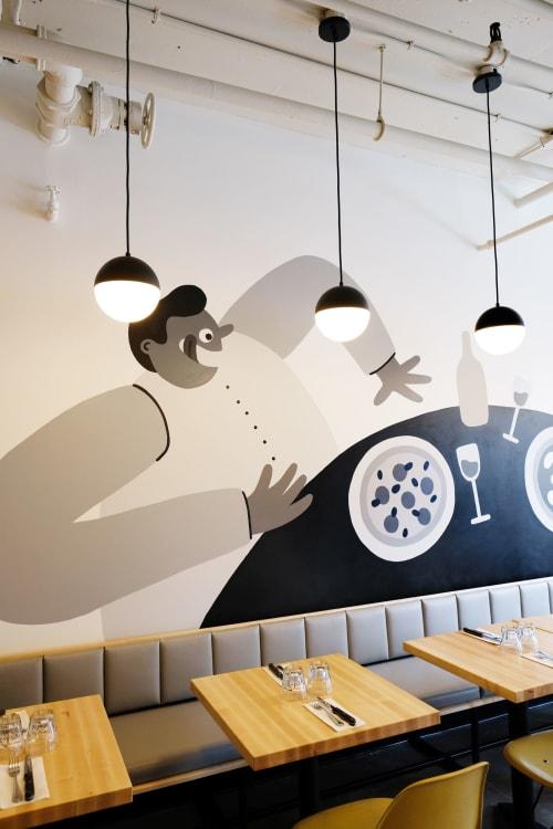 Murals by Cecile Gariepy seen at Pizzeria Melrose Plateau, Montréal - Melrose Pizzeria Mural