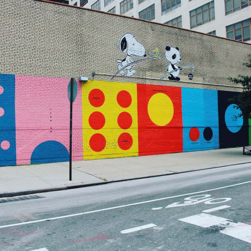 Street Murals by Leah Rosenberg seen at Charlton Street, New York - Circle Game