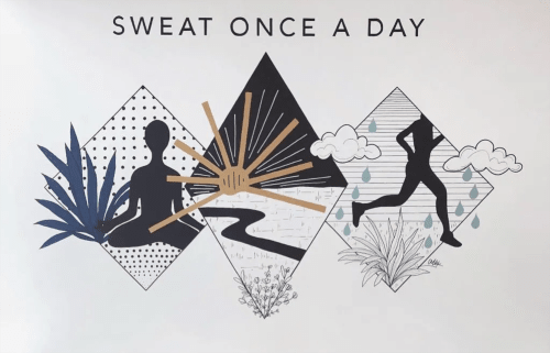 Murals by Alli K Design seen at lululemon, San Francisco - Sweat Once A Day