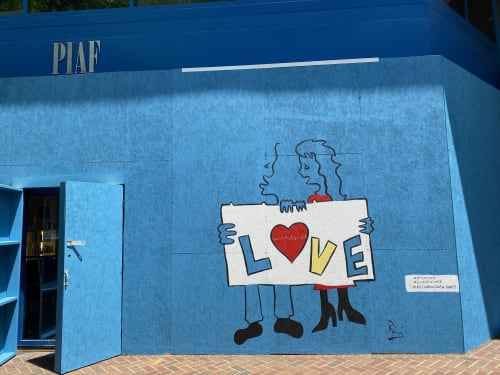 Murals by Ravi Raman - RTunes68 seen at 1023 15th St NW, Washington - All You Need Is...(part of Love In Six Lines series)