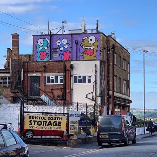 Murals by Nol art seen at Hen & Chicken, Bristol - The Good,the Bad and the Ugly