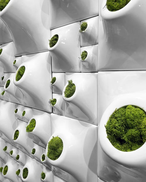 "Sculptures by Pandemic Design Studio seen at New York - Node Moss Wall Greenwall ICFF 2019 Installation 78"" W x 48""H"