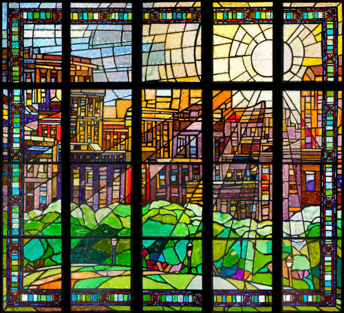 Public Mosaics by William Low seen at Parkchester, Bronx - Moonrise rendered in stain glass