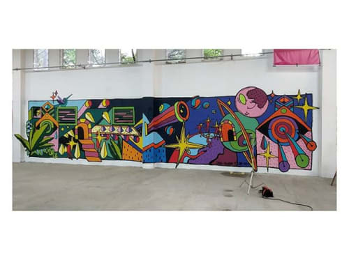 Murals by FISH VICIOUS seen at Comfama Perpetuo Socorro, Medellín - to the stars