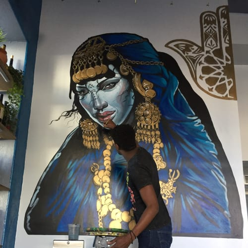 Murals by Serge Gay Jr. seen at Khamsa, San Francisco - Moroccan Queen