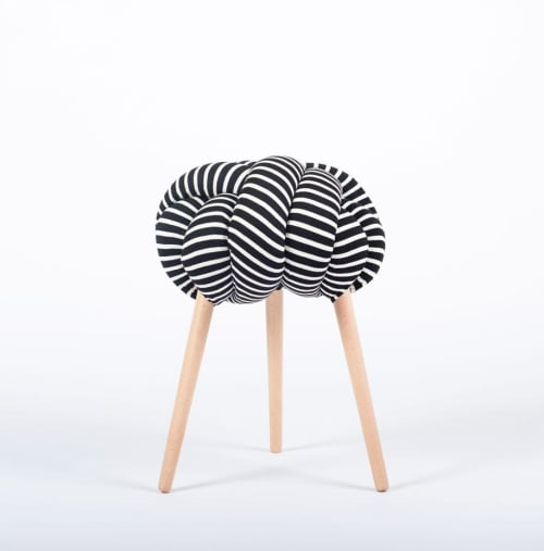 Black & White Cotton Stripes Knot Stool   Chairs by Knots Studio