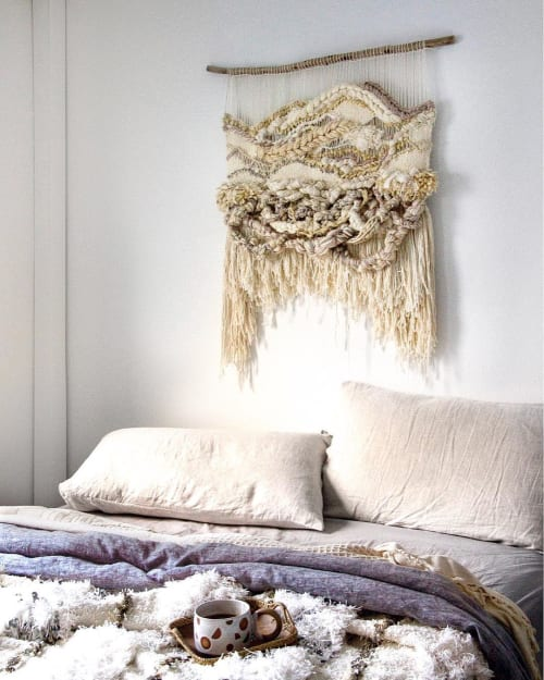 Wall Hangings by Crossing Threads seen at Private Residence, Sydney - 'ASH'