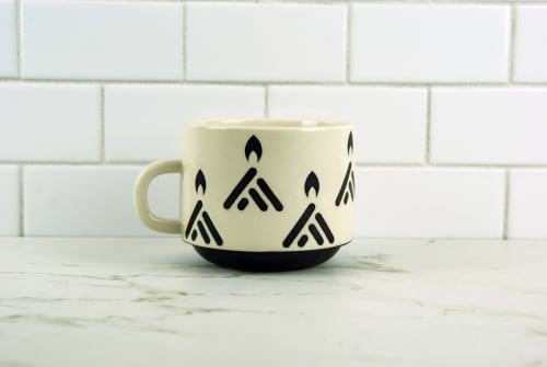 Cups by OVMI Ceramics seen at Creator's Studio, Borden - Ceramic Coffee Mug with Campfire Print