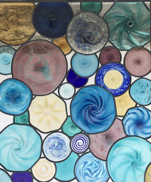Art & Wall Decor by Celinder's Glass Design seen at Private Residence, Huntington Beach - Blue Wave