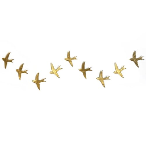 Art & Wall Decor by Elizabeth Prince Ceramics seen at Creator's Studio, Manchester - Extra Large Wall Art Set of 9 Swallow Gold Finish