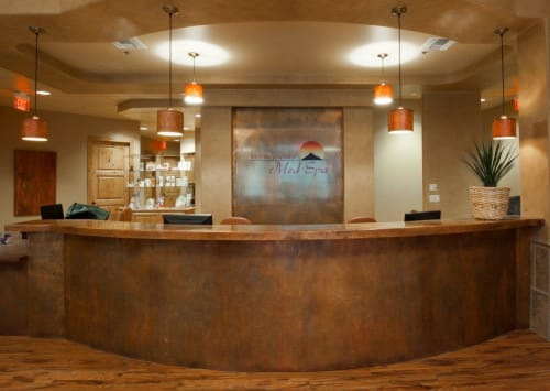Furniture by Perry Luxe seen at Red Mountain Weight Loss, Scottsdale - Custom Steel Counter