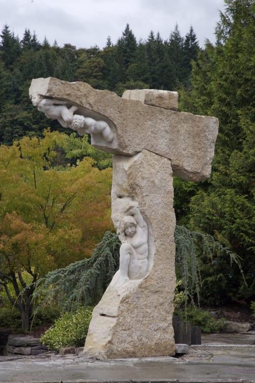 Sculptures by John Fisher Sculptures seen at Marenakos Rock Center, Issaquah - Burden of Angels