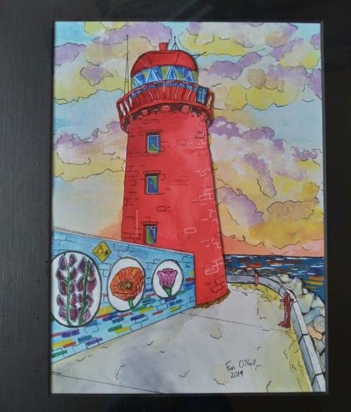 Paintings by Finn O'Neill seen at Private Residence - Dublin, Ireland, Dublin - Bull wall lighthouse