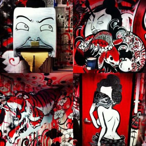 Murals by Bradford Maxfield (Estudio Bradlio) seen at Ramen Tatsu-Ya, Austin - Ramen Tatsu-Ya Geisha