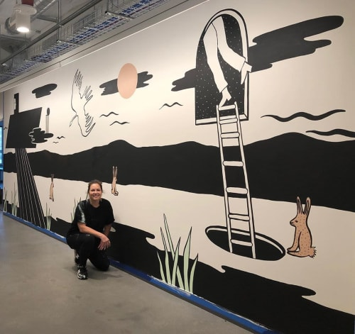 Murals by Jennifer Ament seen at Facebook, Menlo Park - Facebook Mural