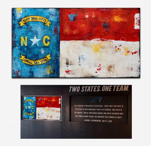 Paintings by ERIN ASHLEY seen at Bank of america stadium, Charlotte - Stadium Art/Custom Flag paintings- North Carolina & South Carolina