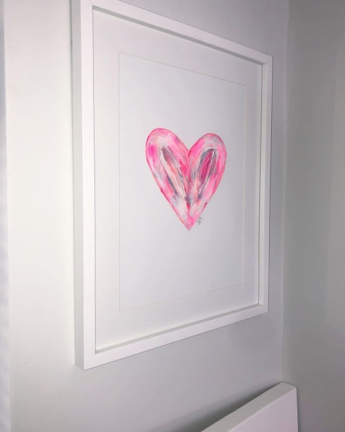 Paintings by Deita Sturdy seen at Private Residence, London - Pink Heart Abstract Painting
