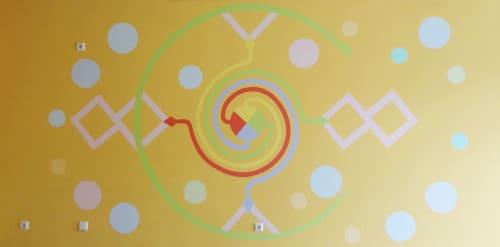 Murals by Darja Shatalova & Egor Shatalov seen at Gem. Grundschule Sieglar, Troisdorf - Mural & mosaic column Kitchen
