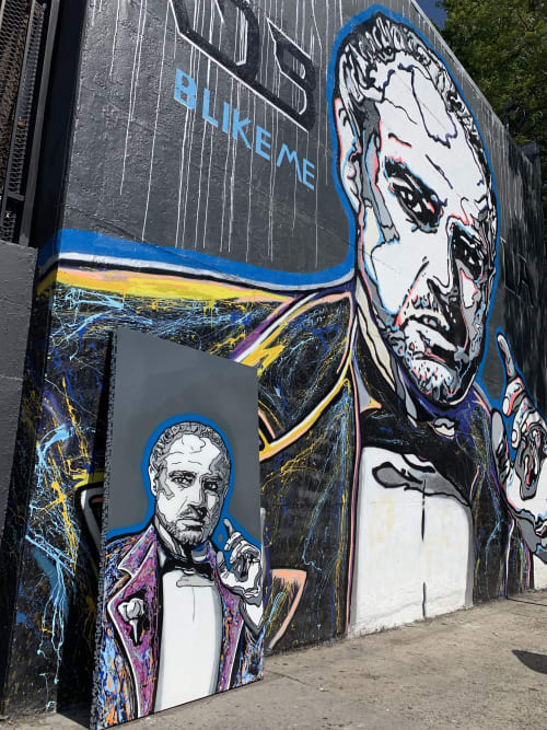 Murals by B LikeMe seen at RDB LA Auto Center, Los Angeles - GodFather