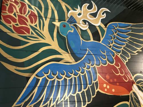 Asian Exotic Bird Mural: Interior Reclaimed Wood | Murals by JUURI | The Ginger Pig in Denver
