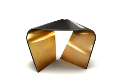 Chairs by Wolfson Design seen at London Studio, London - Twisted Stool Gold