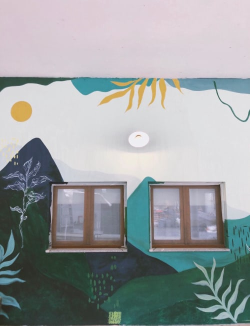 Murals by KRUS seen at Gerês - Selina Hostel