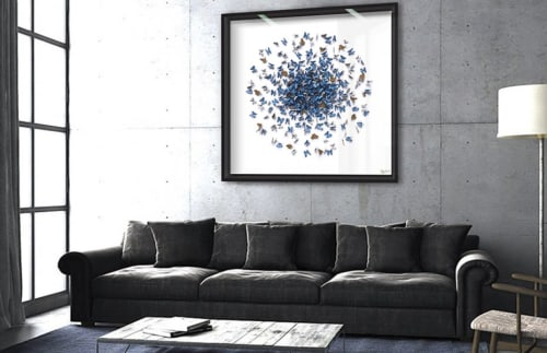 Wall Hangings by Daniel Byrne seen at Private Residence, London - Mass – Blue Morpho