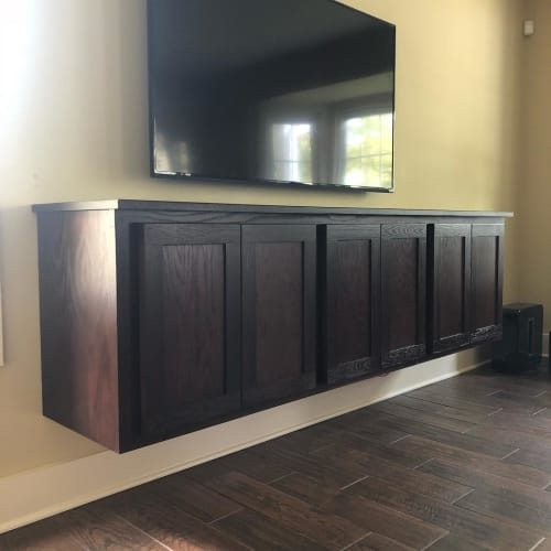 Furniture by A&W Woodworking seen at Private Residence, Earlville - Floating entertainment center and Shelf