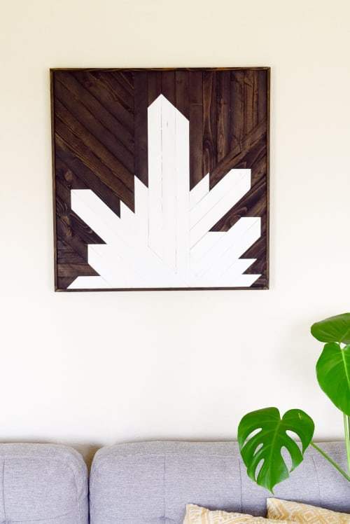 Wall Hangings by Roaming Roots seen at Private Residence, Spokane - Quartz Crystal Cluster Wood Wall Art