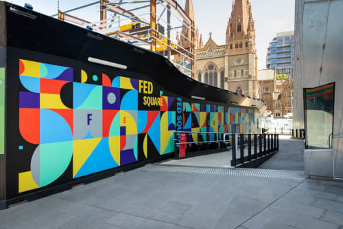 Murals by Deams / Swoop & Melodie seen at Federation Square, Melbourne - Metro Tunnel Mural Commission, Federations Square