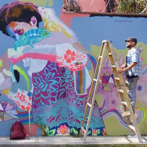 Murals by HUSMANN/TSCHAENI seen at San Miguel de Allende, San Miguel de Allende - THE IGUANA WHISPERERS