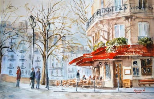 Paintings by Karine Andriasyan seen at Private Residence, Louisville - Sunny Spring Morning in Paris
