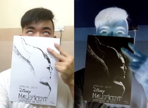 Paintings by Kaeious Art seen at Private Residence, Kulim - Maleficent Drawing in Negative color invert art 黑魔女 負片藝術畫